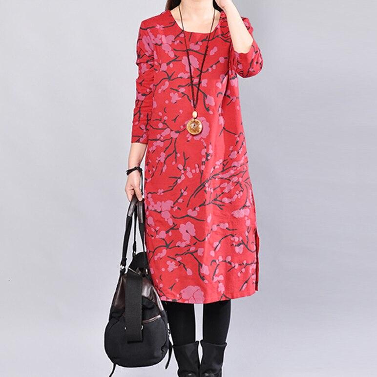 Women s Cotton   Linen Plus Size Retro Floral Print Mid Long Dres lagenlook  Lady voguees Trend long shirts linen tunics-in Dresses from Women s Clothing  ... 8d0d9caf728e