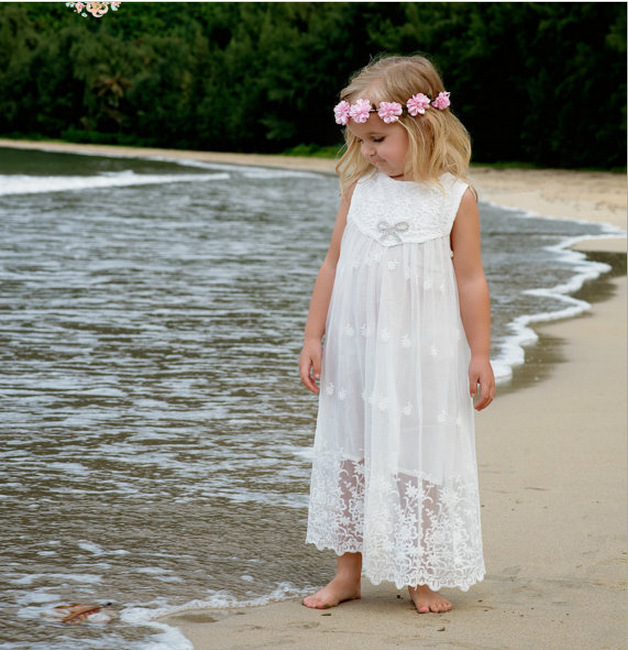 76bcdef02943 Sweet Girls Lace Embroidered Dress Ruffles Sleeveless Spring ...
