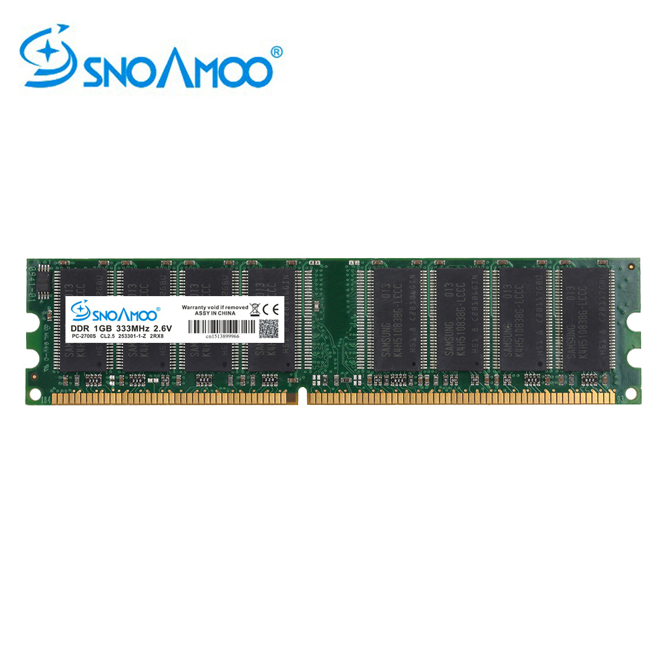 SNOAMOO DDR1 DDR 1GB PC2700/3200 DDR 333MHz/400MHz 184Pin Desktop PC Memory CL2.5 DIMM RAM 1G Lifetime Warranty