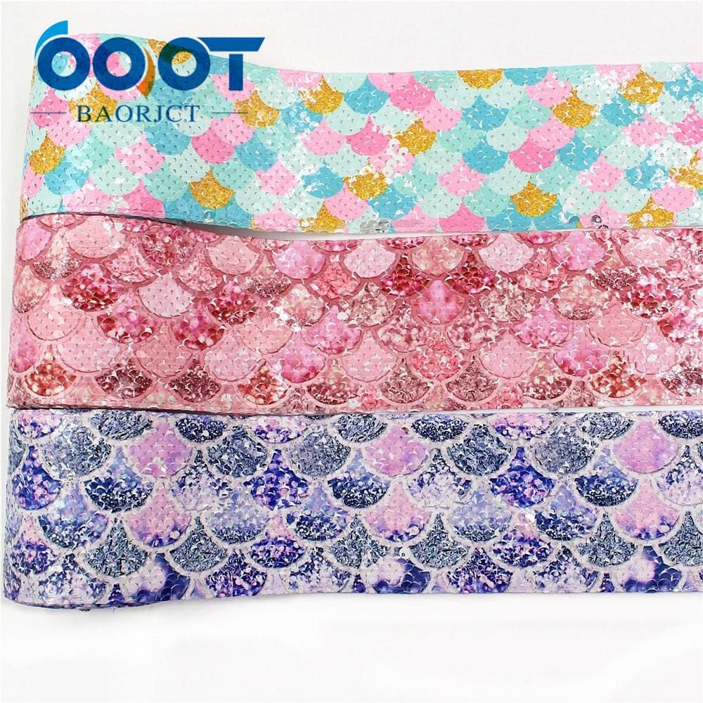 OOOT BAORJCT I-19504-1165,Printing Sequin Shiny Glitter Cartoon 75mm Ribbon DIY Hairbows Accessories Wedding Party Decoration 2y