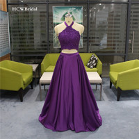 Real Photos New 2 Piece Prom Dresses Halter Backless Beaded Lace A Line Satin Long Formal Sexy Evening Gowns Robe De Soiree