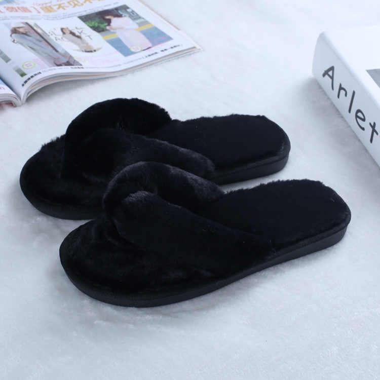Inverno pistoni di Modo di Wome Faux Pelliccia Scarpe Calde scarpe da Donna Slip on Appartamenti di pelliccia Femminile pantofole