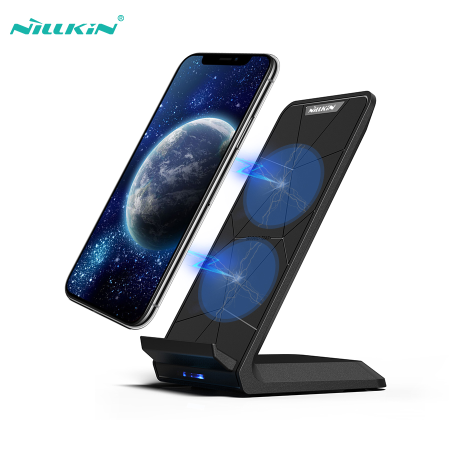 NILLKIN Fast Wireless Charger,Qi Fast Wireless Charging Pad Stand for iPhone X/8/8 Plus For Samsung S9/Note 8/S8/S8 Plus/S7 Edge