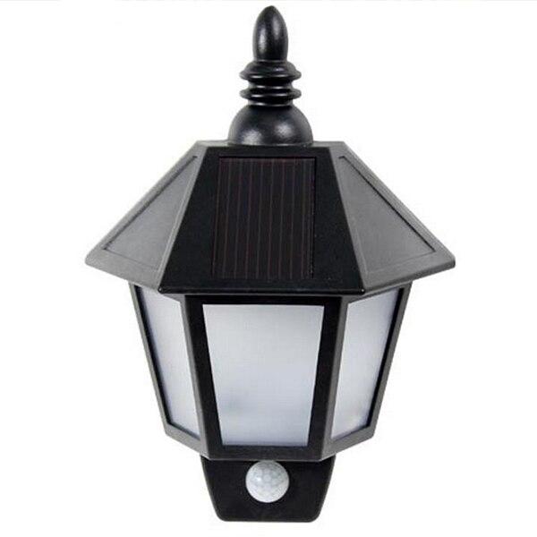 Promotion! Waterproof PIR Infrared Body Motion & Light Sensor Solar Power Panel Outdoor LED Wall Yard Garden Light Lamp White