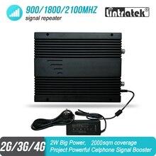 2W כוח גדול 2G 3G 4G נייד אות מאיץ 900 1800 2100 MHz Triband פרויקט GSM UMTS LTE משחזר מגבר 85dB 2000sqm #46