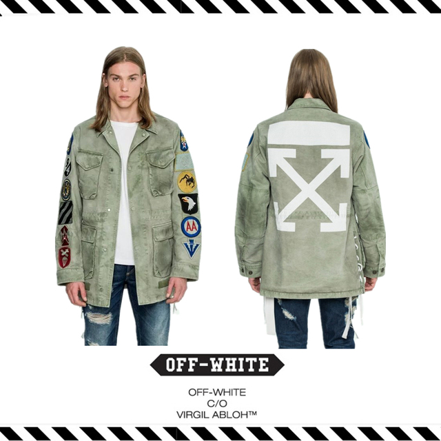 e530bda89f0e Best Version 16FW OFF WHITE FIELD JACKET Brushed Arrow Badge Canvas Field  Jacket In Military Green with Patches Tonal Stitching