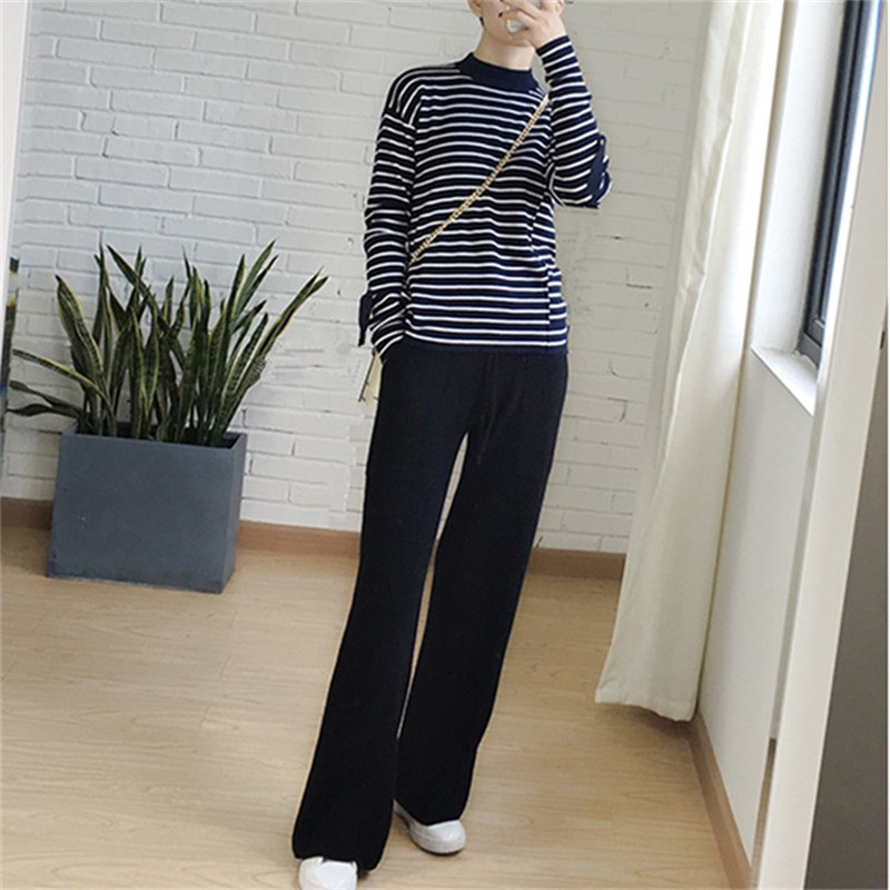Image 2 - 2019 spring new cashmere wide leg pants female casual loose trousers high waist knit trousers-in Pants & Capris from Women's Clothing