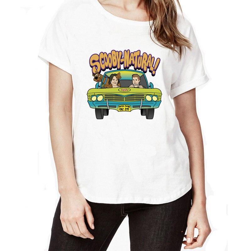 Neue Ankunft Supernatural Dean Sam Winchester Weißes T-shirt Dean Winchester Lustige Karikaturdruck frauen T-shirt Scooby Doo Tees