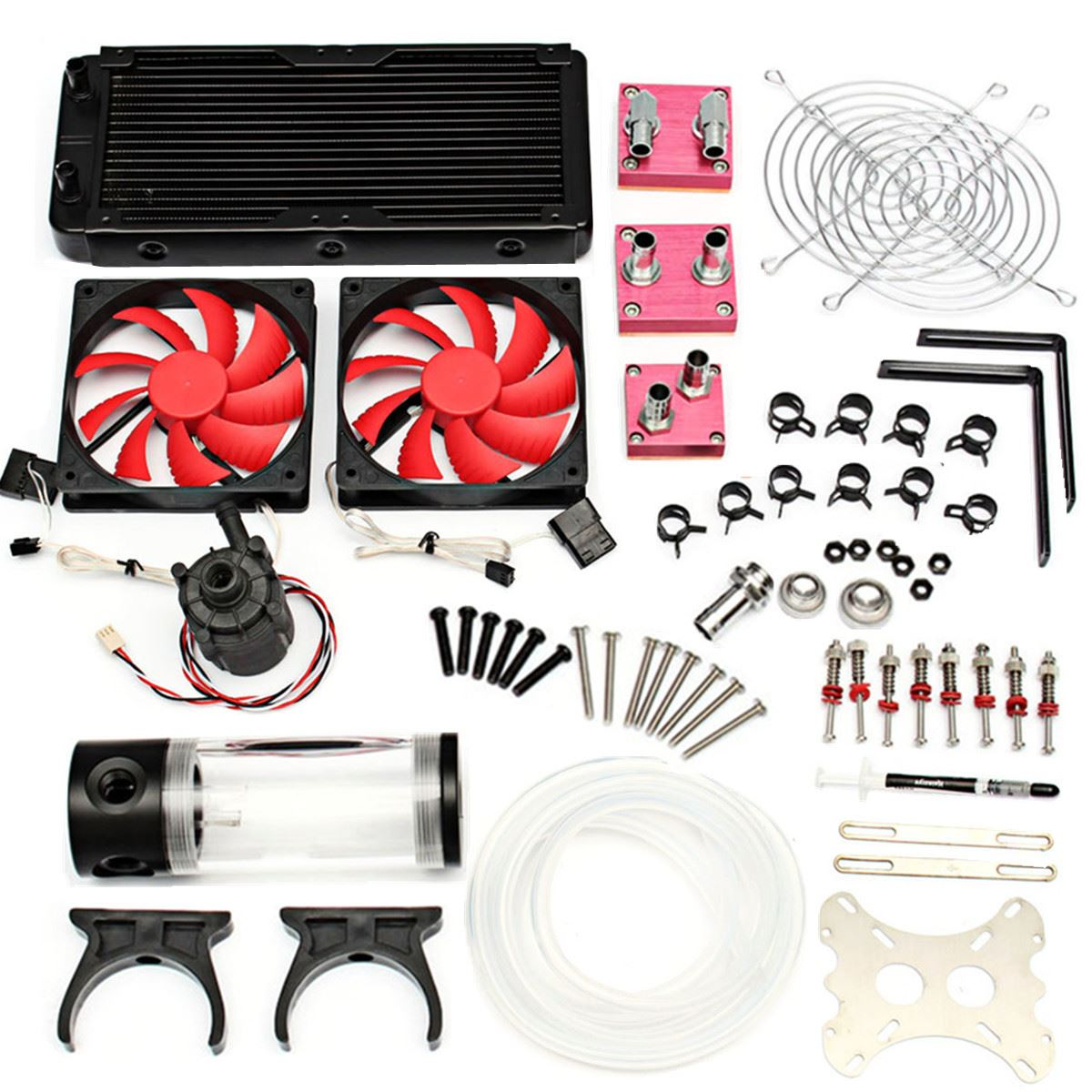Water Cooling Kit 240 Radiator CPU GPU Block Pump Reservoir Tubing Barb 3/8 ID For Intel LGA 1150 1155 1151 computer CPU 6162 63 1015 sa6d170e 6d170 engine water pump for komatsu
