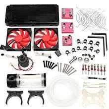 Water Cooling Kit 240 Radiator CPU GPU Block Pump Reservoir Tubing Barb 3/8 ID For Intel LGA 1150 1155 1151 computer CPU