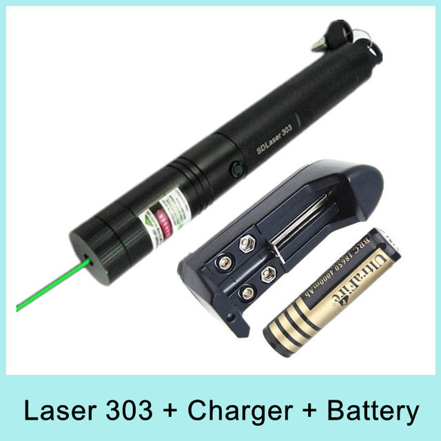 Hot Sale Top Laser 303 Green Laser Pointer Adjustable Focal Length 200mW with Star Pattern Filter +Charger +18650 Li-ion Battery