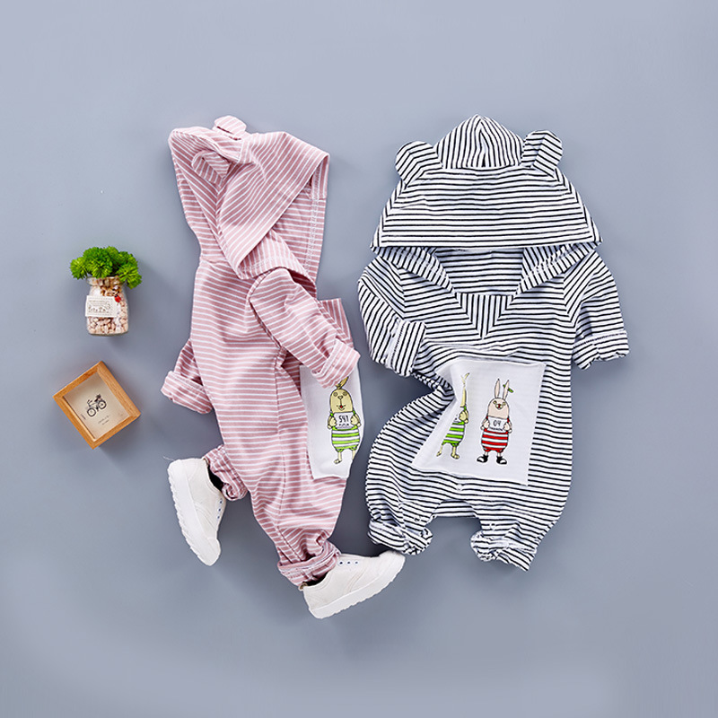 Baby Clothing 2017 Newborn Baby Boy Girl Romper Cotton Long Sleeve Infant Toddler Jumpsuit Hooded Ear Striped Rompers Clothes cotton baby rompers infant toddler jumpsuit lace collar short sleeve baby girl clothing newborn bebe overall clothes