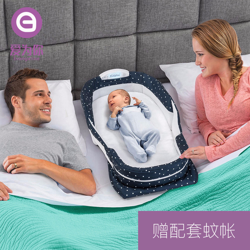 Foldable Portable Baby Crib Co-Sleepers For Newborn Folding Bed Cot For Travel Co-Sleeping Cribs with Mosquito net night lights cute baby crib 4pcs portable comfortable babies pad with sealed mosquito net mattress pillow mesh bag newborn sleep travel bed