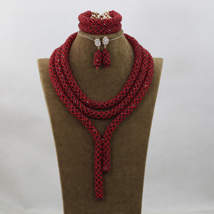 2016 Fashion Wine Red Crystal Jewelry Sets Nigerian African Wedding Bridal/Women Beads Necklace Jewelry Set Free Shipping ANJ244