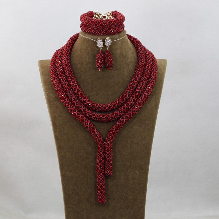 2016 mode vin rouge cristal bijoux ensembles nigérian africain mariage mariée/femmes perles collier bijoux ensemble livraison gratuite ANJ244