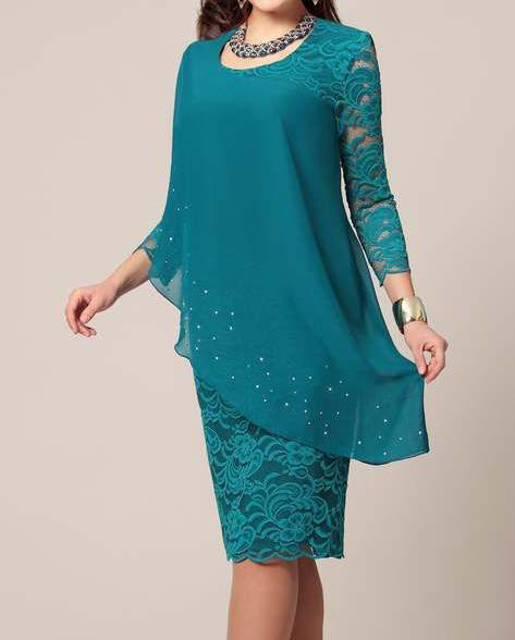 Large Size Dress Summer Solid Color Lace Dress Female Elegant 3/4 Sleeve Slim Party Chiffon Plus Size Dress Women Vestidos 5xl