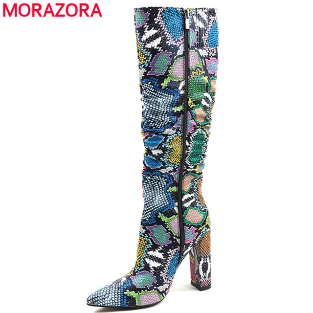 MORAZORA Plus size 36-41 European women boots snake artificial leather high heels knee high boots zipper ladies boots female