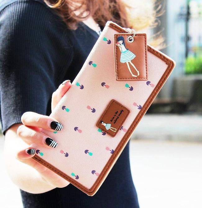 new fashion women wallets brand long wallet female purse sweet PU leather girl cute korea high quality wallets for women