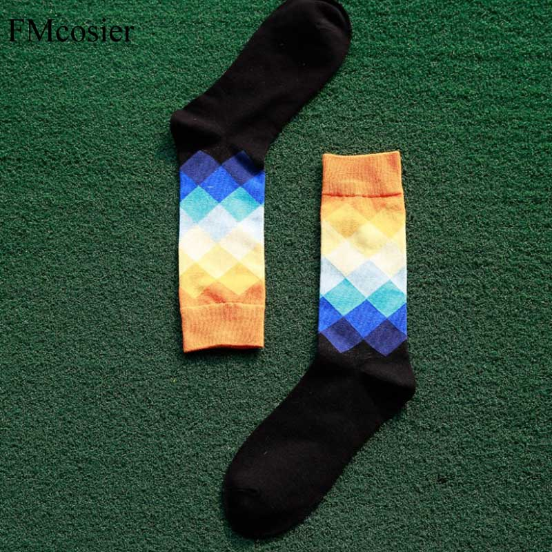 10 Pair Spring Brand Fashion Creative Cotton Socks For Men Colorful Diamond Plaid Long Socks Male Funny calcetines hombre
