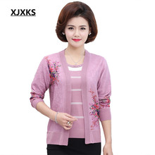 XJXKS Women Spring Autumn Two Piece Set Cardigan top Print Outwear Short Sleeve