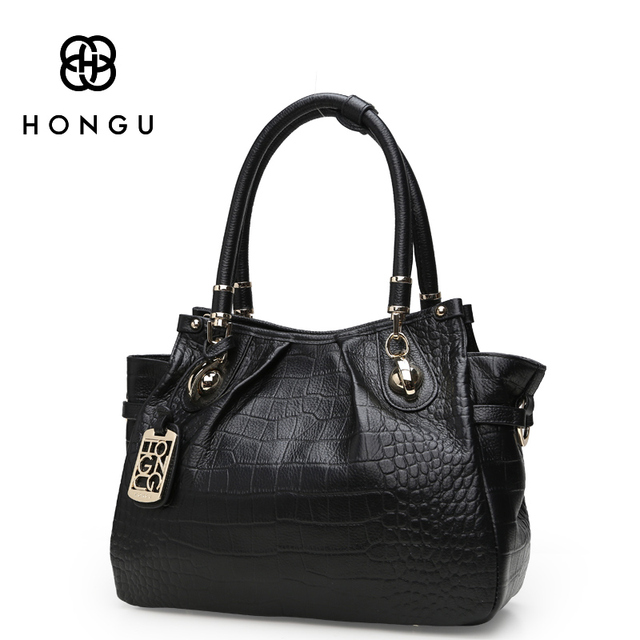 d645a69e9d HONGU Fashion Lichi Crocodile Bag Genuine Cow Leather Women Totes Handbags  bolsa High Quality Lady Female