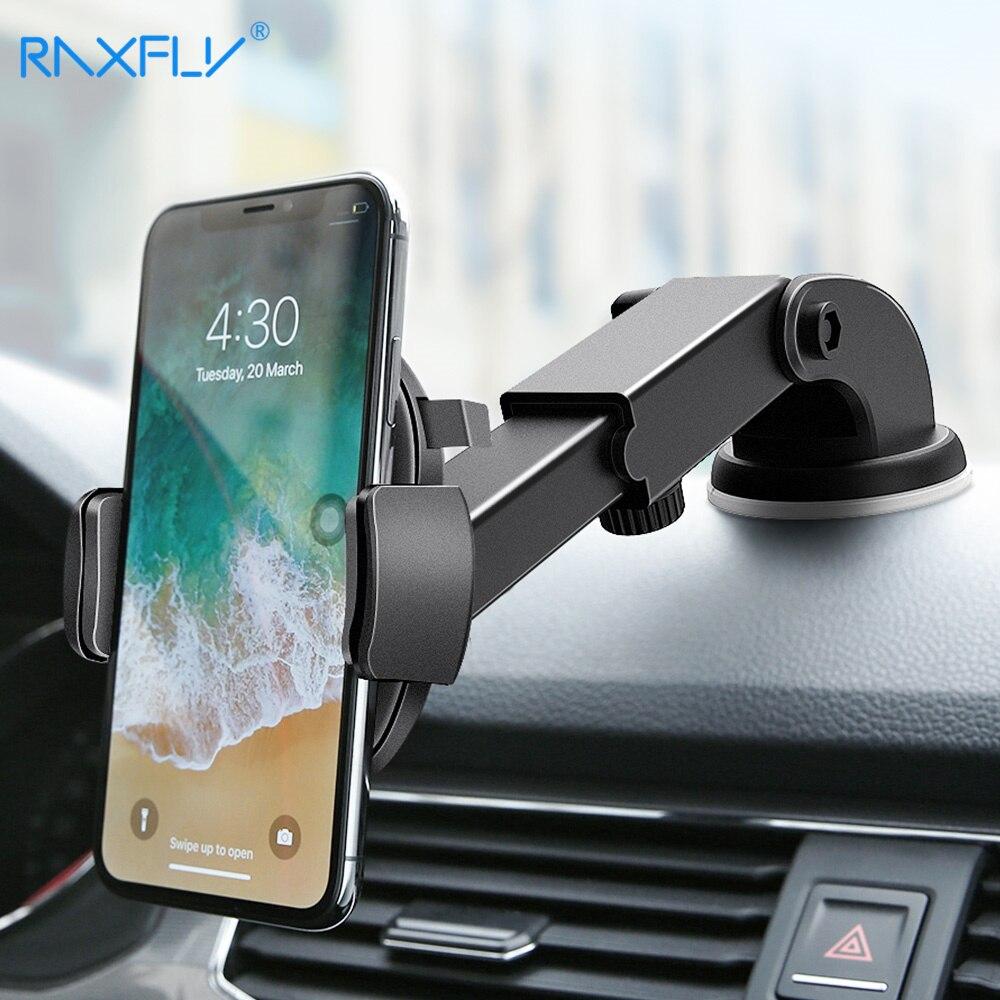 RAXFLY soporte del teléfono del coche del parabrisas para el iPhone X XR XS Max 7 8 6 6 s de brazo soporte para Samsung S9 S8 más Universal del teléfono