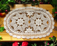 Christmas Gift Vintage Lace Crochet Flower Oval Tablecloths decoration mat Coffee table cloth hollow oval Sofa towel