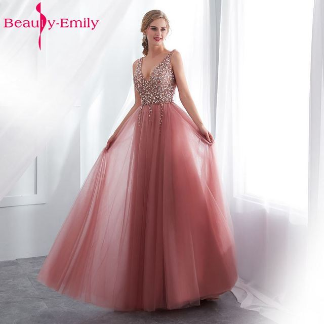 8c286f72290 Beauty Emily Beads Lace Formal Evening Dresses 2018 long Plus Size A-Line  Evening Party