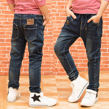 Kids Boys Casual Winter Jeans Cotton Zipper Denim Pant Children Warm Thick Fleece Trousers