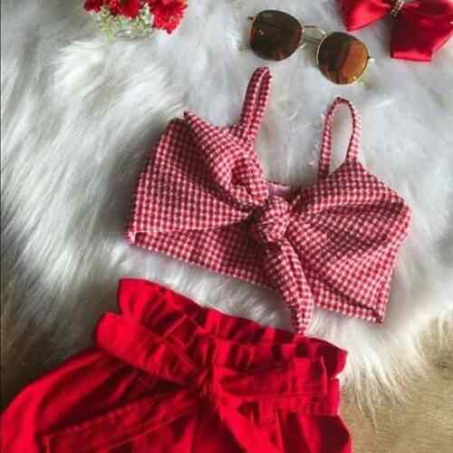2019 Pasgeboren Kid Baby Meisjes Zomer Zoete Plaid Tops Vest Broek Shorts Outfits Kleding 2 pcs