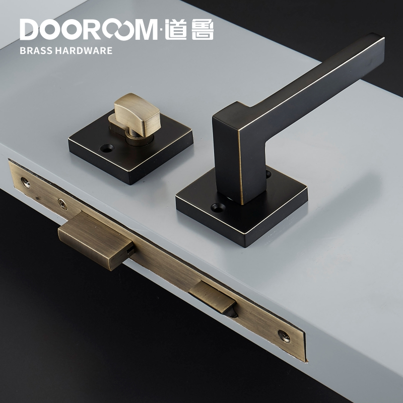 Dooroom laiton levier de porte américain nordique moderne en bois massif intérieur serrure de porte chambre fendu ensemble mécanique poignée noir carré - 6