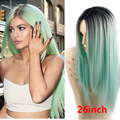 Kardashian HairStyle Celebrity Wigs Synthetic Hair Long Straight Ombre Mint Green Wigs Queen hair Products green rosa Full Wig