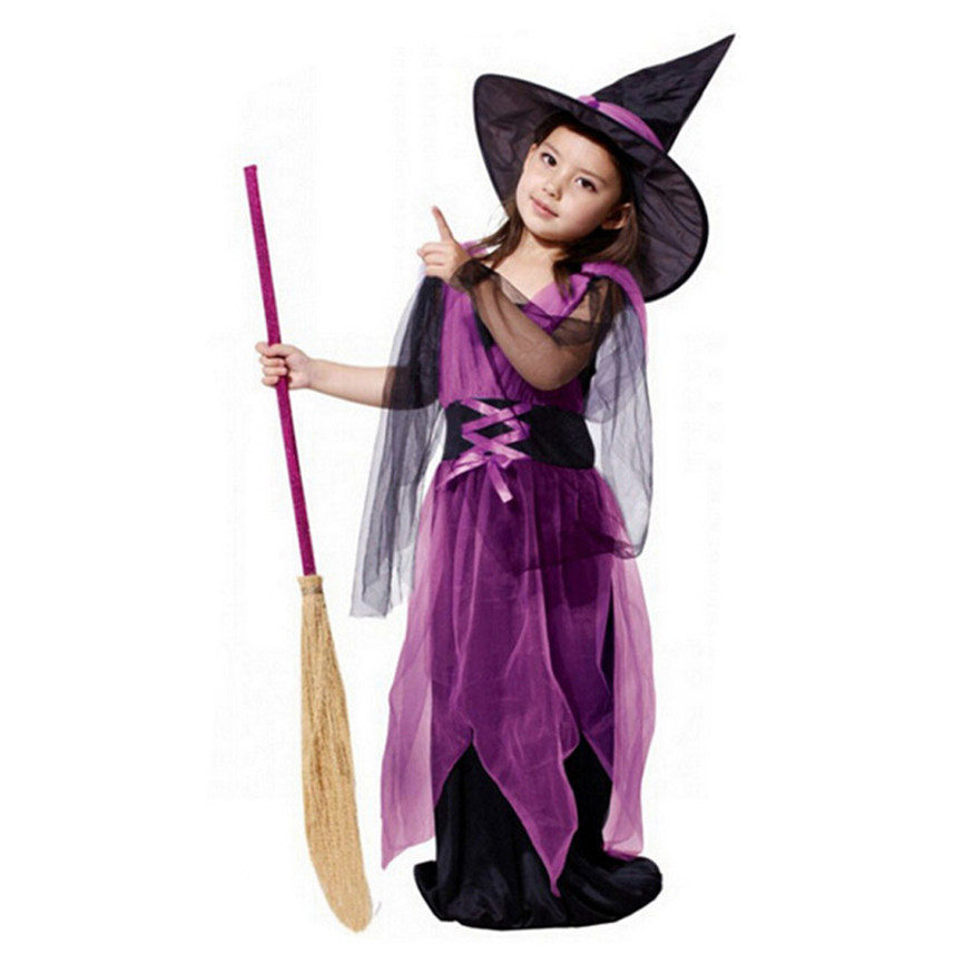 2018 New Toddler Kids Baby Girls Halloween Clothes Costume Dress Party Dresses+Hat Outfit Costumes For Kids Dropshipping 0111