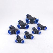 цена на Free shipping 5PCS PE4 6 8 10 12MM  (5/32'' 1/4'' 5/16'' 3/8'' 1/2'') Plastic joint quick joint T type tee PE