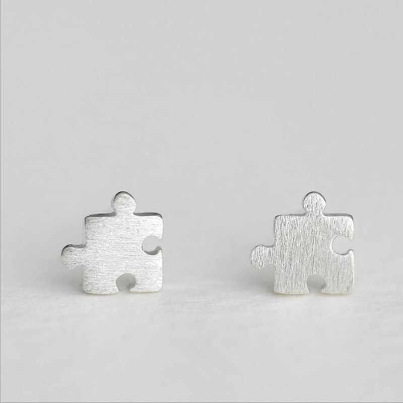 Personality Creative Fashion 925 Sterling Silver Jewelry Female Simple Idiots Puzzle Lively Fun Earrings     SE225
