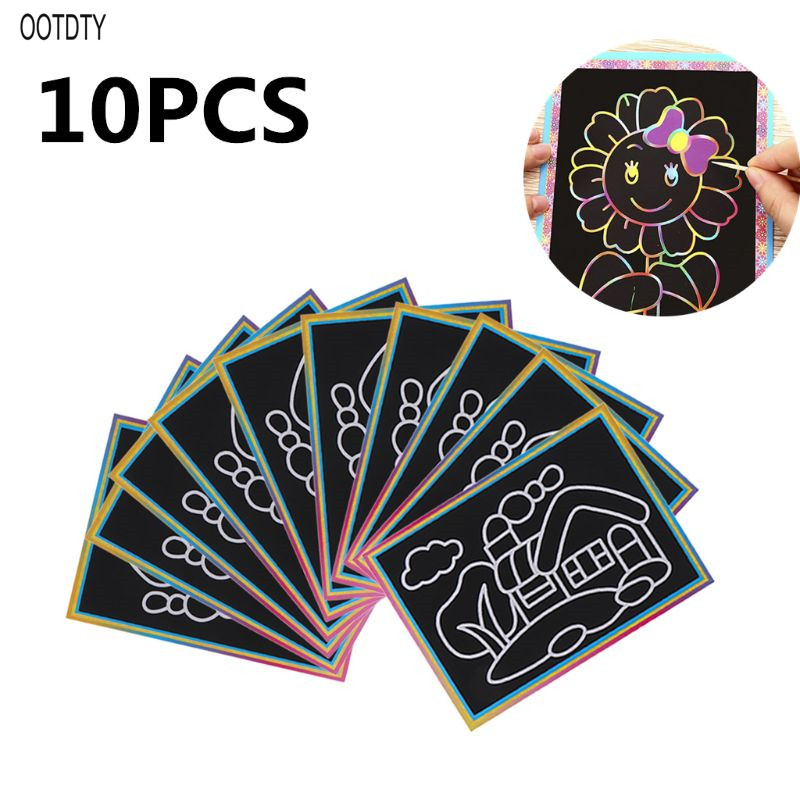 10PCS Patterned Scratch Art Paper Magic Painting Paper With Drawing Stick Kids Toy Education Drawing Toys