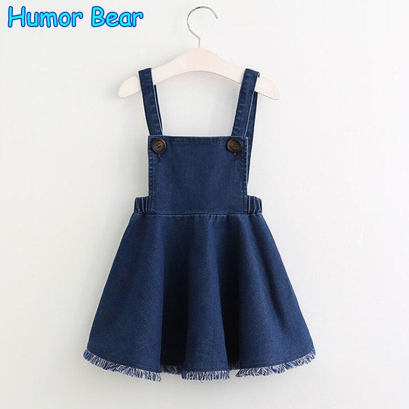 Humor Bear Girls Denim Dress 2017 Summer Clothing Spring Casual Dress Kids Clothes Princess Dress Girls Clothes