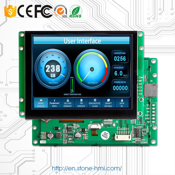 HMI Device 7 Inch LCD 800*480 Touch Screen With RS232 / RS485 / TTL