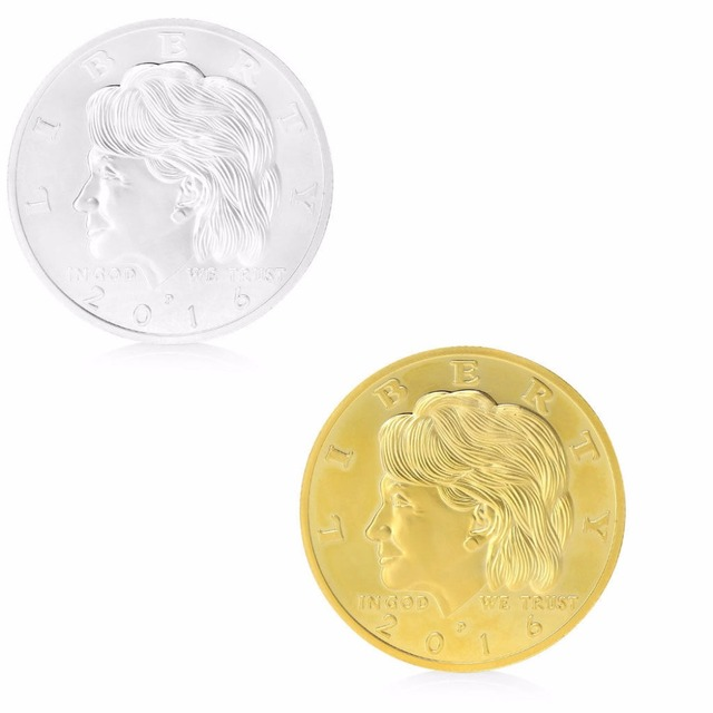 US $0 91 24% OFF|Golden Silvery Hillary Clinton In God We Trust  Commemorative Challenge Coin Gift-in Non-currency Coins from Home & Garden  on