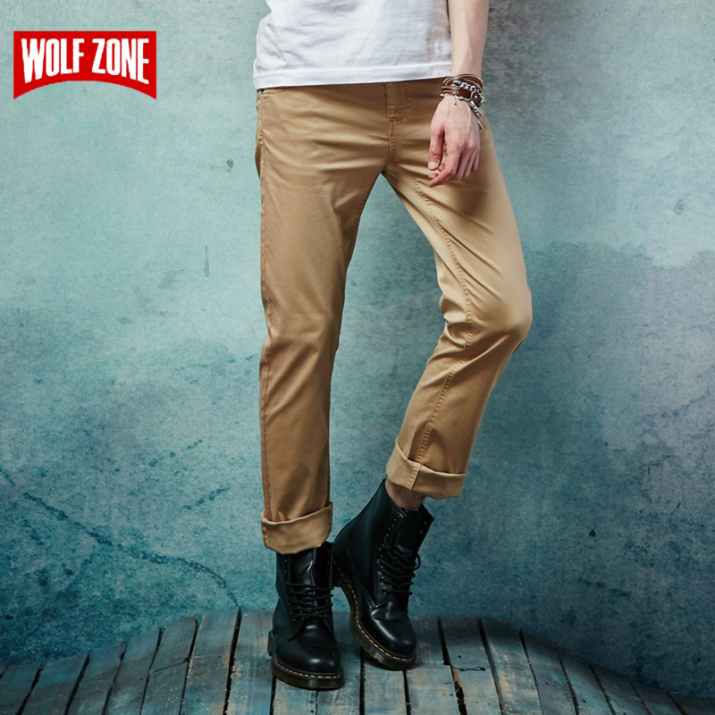 Top Fashion Brand Spring Summer Men Casual Pants New 2017 Slim Straight Cotton Man Trousers Mid Full Length Cargo Pants