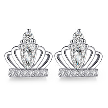 100% 925 sterling silver fashion crown shiny crystal ladies`stud earrings women Christmas gift female jewelry wholesale cheap