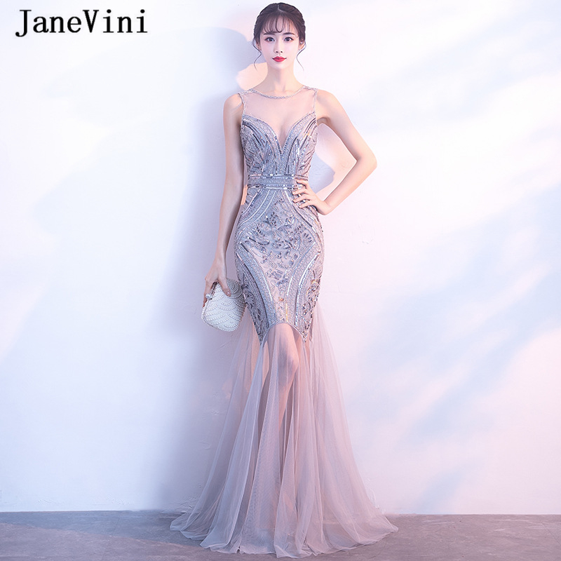 JaneVini 2019 Sparkle Silver Gray Sequins Evening Dresses O Neck Sleeveless Mermaid Formal Long Evening Party Gowns Abiti Lunghi