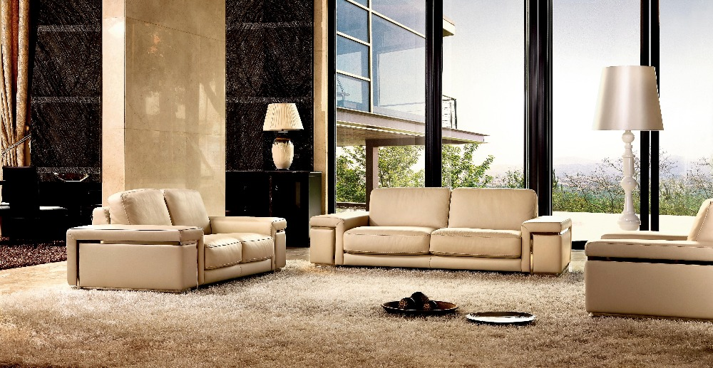 Sofa-Furniture Stainless-Steel Sofa/living-Room Latest-Style Home-Used Genuine-Leather
