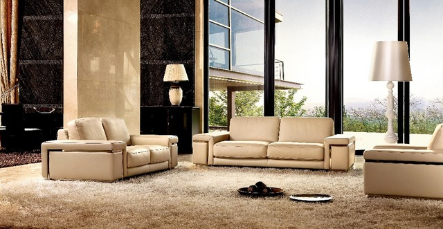 High Quality Cow Top Graded Genuine Leather Sofa Living Room Furniture Latest Style Home