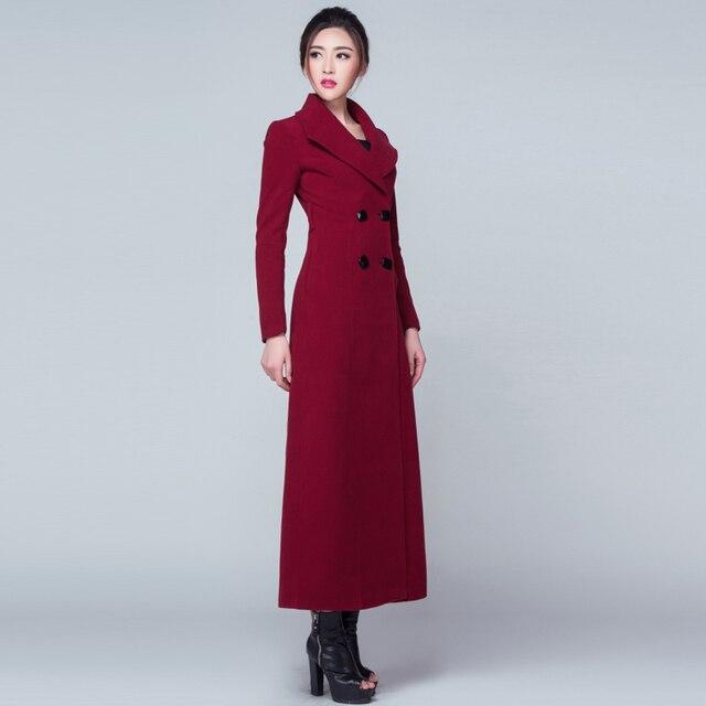 60d32dc896e 2018 New Women Autumn Winter Coat Wool Outwear Turn Down Collar Double  Breasted Woolen Trench Plus Size Slim Long Overcoat