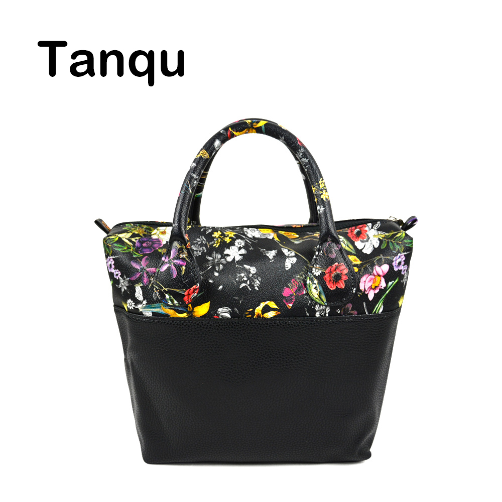 TANQU Waterproof Faux PU Leather Upper part Floral Insert Inner Pocket Plus Handle Combination for Classic Mini Obag O Bag new colorful cartoon floral insert lining for o chic ochic canvas waterproof inner pocket for obag women handbag