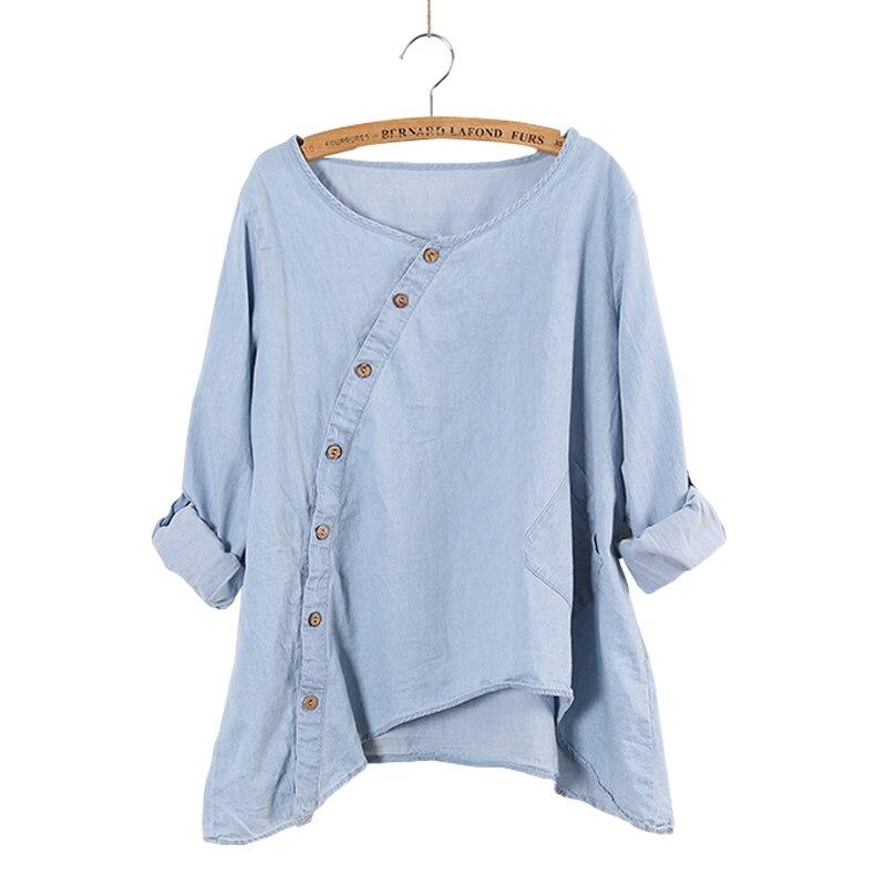 Spring New Women Shirt Slant Oblique Button Irregular Full Sleeve Wash Blue Pocket Loose Casual Top Women Blouse