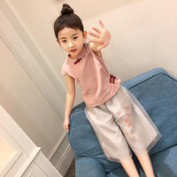 2017 New Summer Chinese Style Girls Clothing Sets Baby Toddler Kids Girl Clothes Sleeveless Qipao Blouse