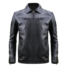 PU Jacket Men Casual Black Coat Solid Color 2019 Fashion Autumn Winter Leather Jackets Male J0258