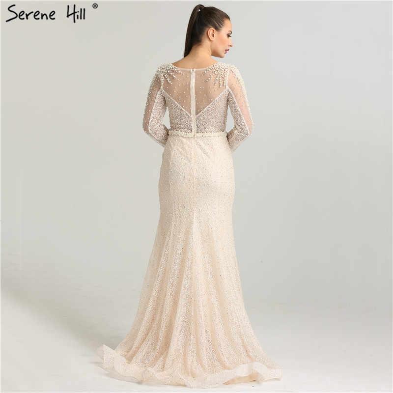 แขนยาว Mermaid Luxury Sparkle ชุดราตรีคริสตัลไข่มุกแฟชั่นเซ็กซี่ Tulle Evening Gowns 2020 Serene Hill LA6428